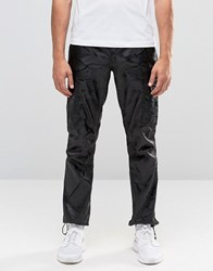Asos Straight Trousers In Black Camo Black