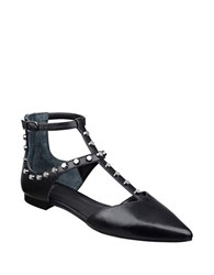 Marc Fisher Sava Embellished Leather T Strap Flats Black