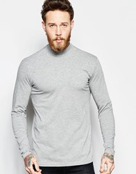 Weekday Half Tube Long Sleeve Top Turtle Neck In Grey Melange Grey