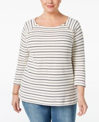 Charter Club Plus Size Embellished Striped Top Only At Macy's Cloud Combo