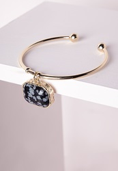 Missguided Marble Pendant Cuff Gold Gold