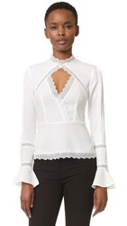 Nicholas N Lace Insert Top Ivory