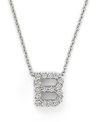 Roberto Coin 18K White Gold Initial Love Letter Pendant Necklace With Diamonds 16
