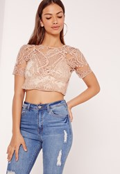 Missguided Sheer Embellished Crop Top Nude
