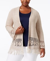 Styleandco. Style Co. Plus Size Fringe Cardigan Only At Macy's Natural Heather