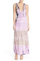 Women's Fraiche By J Tie Dye Sleeveless Maxi Dress Taupe Lilac Tie