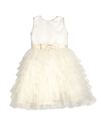 Joan Calabrese Sleeveless Sequin Tiered Dress Ivory