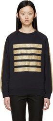 Palm Angels Navy Glitter Five Stripes Sweatshirt