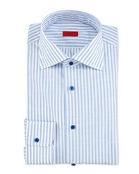 Isaia Striped Chambray Dress Shirt Blue White Women's