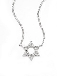 Effy Diamond And 14K White Gold Star Of David Pendant Necklace