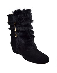 Taryn Rose Fritzy Suede And Faux Fur Ankle Booties Black