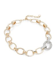 Rj Graziano Goldtone Pave Chain Link Collar Necklace