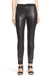 Lafayette 148 New York Leather And Milano Knit Skinny Moto Pants Black