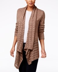 Karen Scott Pointelle Knit Open Front Cardigan Only At Macy's Grain Marl
