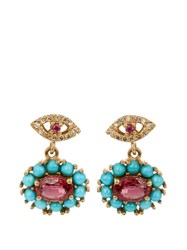 Ileana Makri Diamond Ruby Sapphire And Turquoise Earrings Yellow Gold
