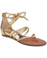 Vince Camuto Adalson Strappy Lace Up Flat Sandals Women's Shoes Egyptian Gold
