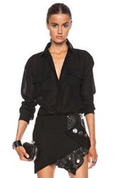 Anthony Vaccarello Sheer Button Up Top In Black