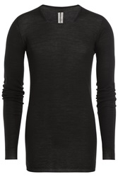 Rick Owens Men Long Sleeved Virgin Wool Top Black
