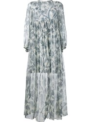 Zimmermann Long Bird Print Dress Blue