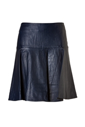 Jonathan Simkhai Leather Flare Skirt In Navy