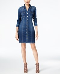 Inc International Concepts Curvy Fit Denim Dress Only At Macy's Indigo