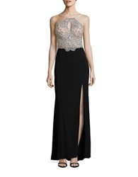 Betsy And Adam Beaded Halter Gown Nude Black