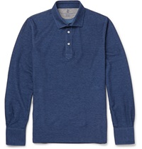 Brunello Cucinelli Cotton Pique Polo Shirt Blue