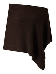 Jigsaw Knitted Ribbed Border Poncho Chocolate