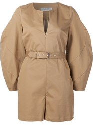 Rachel Comey Belted Playsuit Nude And Neutrals