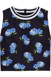 Mother Of Pearl Morley Cropped Floral Print Cotton Blend Twill Top Blue