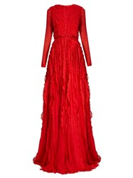 Giambattista Valli Ruffled Silk Georgette Gown Red