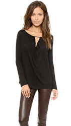 Lanston Drape Key Hole Top Black