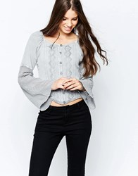 Brave Soul Denim Wash Long Sleeve Top With Embroidered Detail Dove Grey