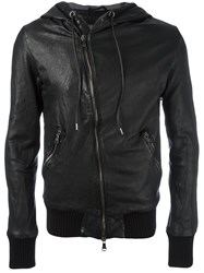 Giorgio Brato Hooded Leather Jacket Black