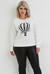Forever 21 Plus Size Sequined Journey Graphic Top White Black