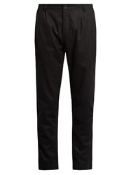 Etudes Archives Mid Rise Tapered Leg Wool Blend Trousers Black