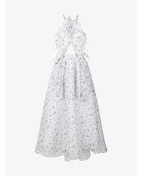 Rosie Assoulin Ruffle And Cut Out Floral Print Silk Dress Blue Grey White Multi Coloured