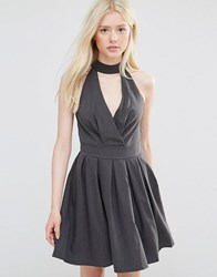 Wal G Skater Dress With Neck Detail Grey