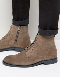 Hugo Boss Orange Cultroot Suede Lace Up Boots Grey