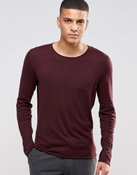 Selected Homme Silk Mix Knitted Jumper With Raw Edge Burgundy Red