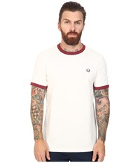 Fred Perry Ringer T Shirt Snow White Maroon Men's T Shirt
