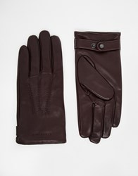Ted Baker Leather Gloves Red