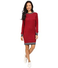 Lacoste Long Sleeve Striped Double Face Wool Dress Navy Blue Flour Tokyo Red Women's Dress