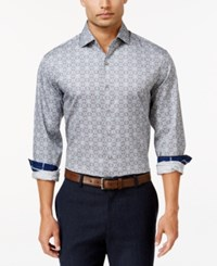 Tasso Elba Men's Big And Tall Geometric Long Sleeve Shirt Classic Fit Blue Combo