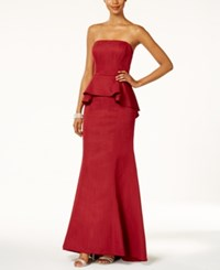 Adrianna Papell Strapless Peplum Gown Red