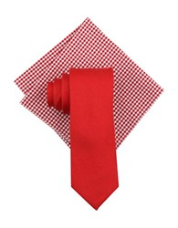 Tallia Orange Seasonal Solid Silk Linen Tie And Pocket Square Set Red