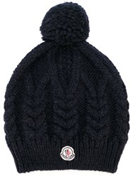Moncler Pompom Cable Knit Beanie Blue