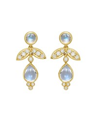 Temple St. Clair Foglia Royal Blue Moonstone And Diamond Drop Earrings In 18K Yellow Gold Blue Gold