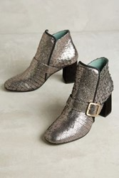 Anthropologie Paola D'arcano Scaled Leather Booties Silver