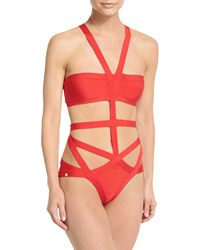 Herve Leger Cutout Bandage One Piece Swimsuit Coral Poppy Women's